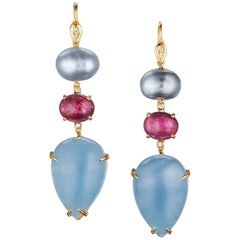 Joon Han South Sea Tahitian Keshi Pearl Tourmaline Aquamarine 18K Drop Earrings