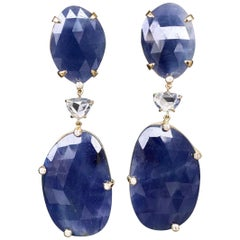 Joon Han Rose Cut Blue Sapphire Diamond 18K Gold Drop Dangle Earrings