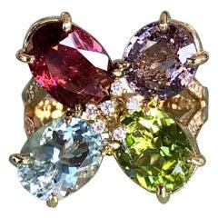 Joon Han Sapphire Aquamarine Tourmaline Peridot Diamond 18K Gold Cluster Ring