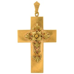 Impressive Victorian Gold Cross Pendant or Brooch