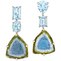 Joon Han Aquamarine Bicolor Tourmaline Diamond 18K Gold Drop Dangle Earrings