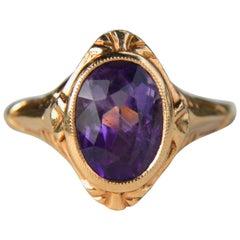 Antique Art Deco 1.41 Carat Amethyst 14 Karat Rose Gold Engagement Ring