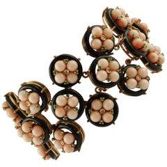 Diamonds, Emeralds, Onyx, Pink Corals Rose Gold Link Fashion Bracelet