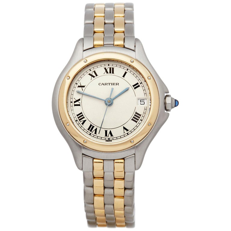 63ce92194dab Cartier Cougar Stainless Steel   18k Yellow gold 187906 Ladies Wristwatch  For Sale