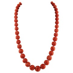 183.21 g Engraved Red Spheres Coral,Diamonds, White Gold Clasp, Beaded Necklace
