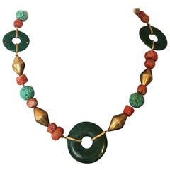Coral Carved Antiques Turquoise 18 Karat Gold Necklace