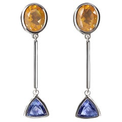 Tanzanite and Citrine Silver Dangling Earrings