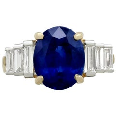 4.59 Carat Sapphire and 1.02 Carat Diamond Yellow Gold Cocktail Ring