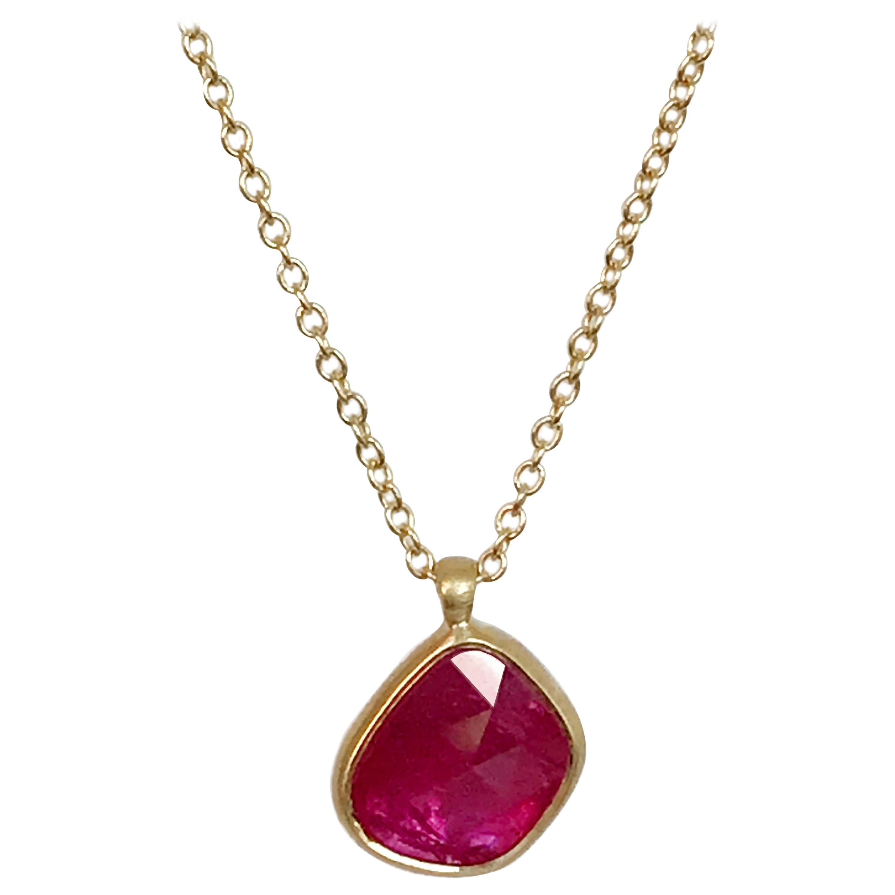 Dalben Design Irregular Drop Shape Rose Cut Slice Ruby Yellow Gold Necklace