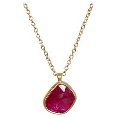 Dalben Design Irregular Drop Shape Rose Cut Slice Ruby Yellow Gold Necklace