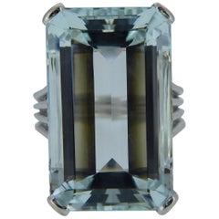Vintage 11.50 Carat Aquamarine Ring, French Marks, 18 Carat White Gold