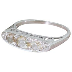 Midcentury Rose Cut and Old Cut Diamond Five-Stone Ring
