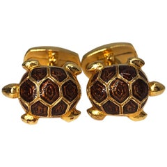Light Brown Hand Enameled Turtle Shaped Sterling Silver Gold-Plated Cufflinks