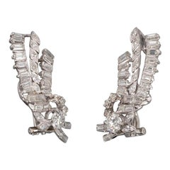 4.40 Carat Gold and Diamonds French Earrings