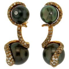 Tahiti Pearl 18 Karat Yellow Gold Diamonds Drop Earrings