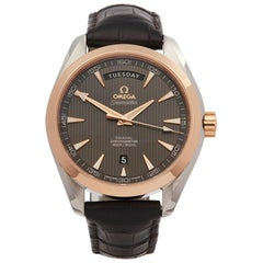 2010s Omega Seamaster Aqua Terra Day Date Steel and Rose Gold Wristwatch