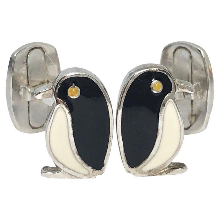 Black White Hand Enameled Penguin Shaped Sterling Silver Cufflinks For Sale