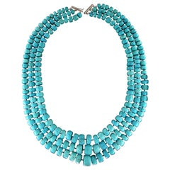 Turquoise 18 Karat White Gold Clasp Multi-Strands Necklace