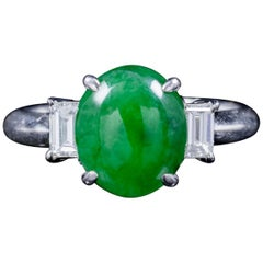 Antique Edwardian Jade Diamond Trilogy Ring Platinum, circa 1915