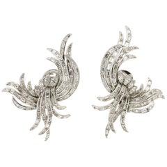 Diamonds Baguette Platinum Clip-On Earrings