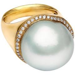 Yoko London Baroque South Sea Pearl and Diamond Ring Set in 18 Karat Yellow Gold