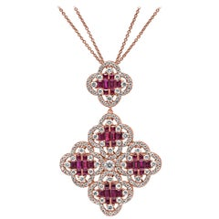 18 Karat Rose Gold Ruby Gemstone and Diamond Clover Pendant Necklace