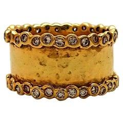Ippolita 18 Karat Yellow Gold and Diamond Hammered Ring