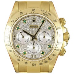 Rolex Cosmograph Daytona Gold Pave Diamond & Emerald Set Dial Zenith Movement