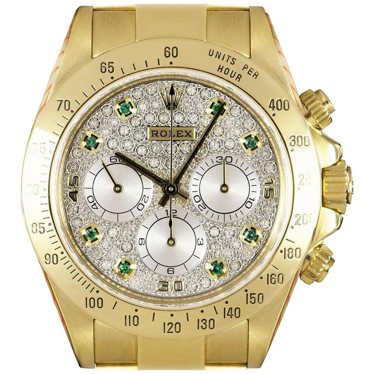 Rolex Cosmograph Daytona Gold Pave Diamond And Emerald Set Dial
