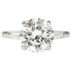 Tiffany & Co. 2.55 Carat D VS1 Brilliant Round Tapered Baguette Diamond Ring