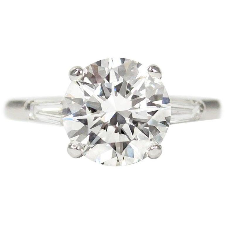 fdc7dd1116c Tiffany & Co. 2.55 Carat D VS1 Brilliant Round Tapered Baguette Diamond Ring