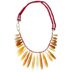 Red Italian Coral Orange Chalcedony Faced Drops 18 Karat Gold Necklace