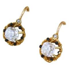 Victorian 1.80 Carat Old Cut Diamond Earrings