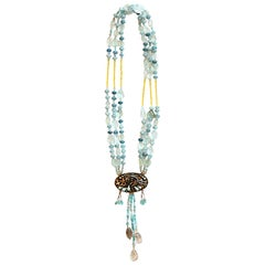 Aquamarine, Agate, Rock Crystal 18k Gold Silver Long Necklace