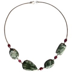 Tourmaline Serafinite Silver Rigid Necklace