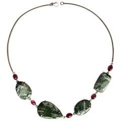 Tourmaline Serafinite Silver Rigid Necklace