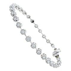 2.23 Carat Total Diamond Tennis Bracelet in 14 Karat White Gold