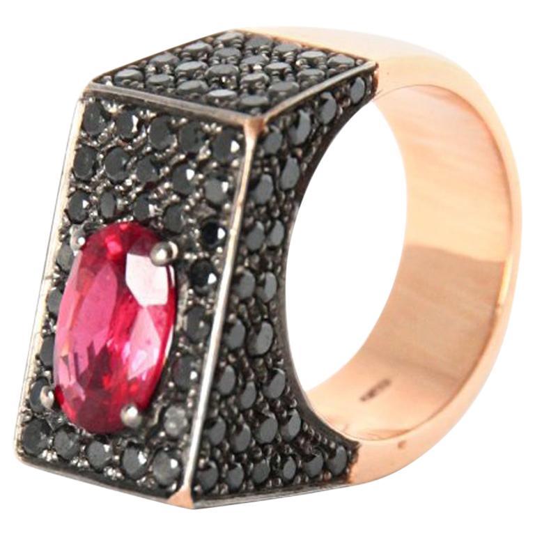 Black Diamonds Spinel 18 Karat Rose Gold Ring For Sale