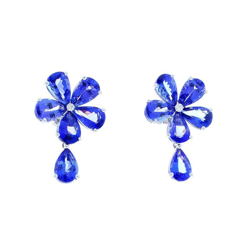 16.32 Carat Total Pear Shape Tanzanite Floral Earrings in 18 Karat White Gold