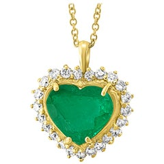 6+ Carat Heart Shape  Colombian Emerald and Diamond Pendant Necklace DBY Chain