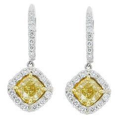 1.70 Carat total Cushion Cut Fancy Yellow Diamond Two Tone Earrings In 18K Gold