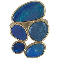 Gold Blu Australian Blu Opal 18 Karat Gold Ring