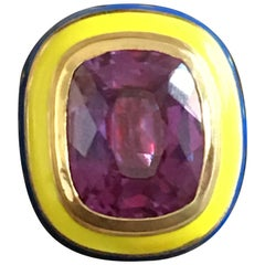 18 Karat Yellow Gold Cocktail Ring Enamel Amethyst
