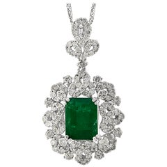 4.5 Carat Emerald Cut Emerald and Diamond Pendant Necklace 18 Karat Gold