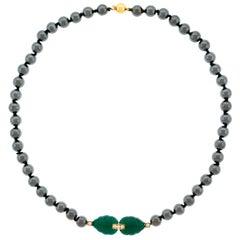 Cartier Hematite Chrysoprase and Diamond Set Gold Necklace