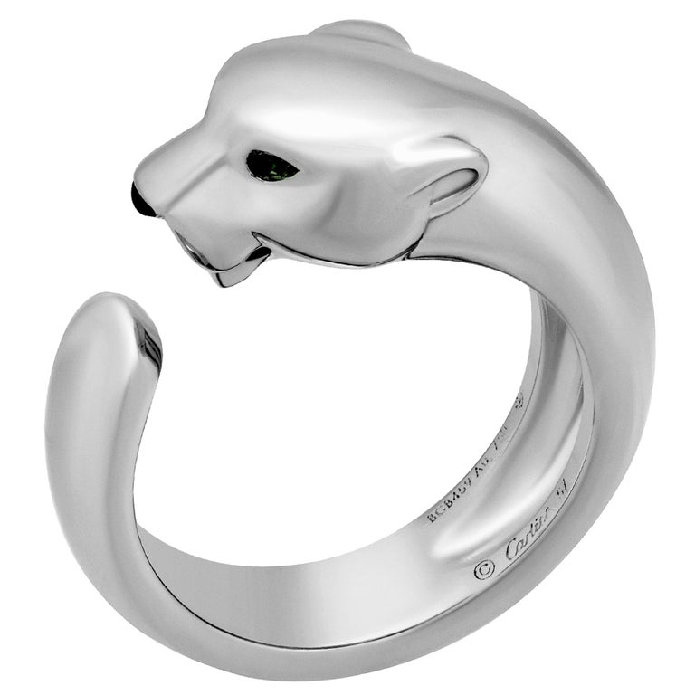 Cartier 18 Karat White Gold Panthere de Cartier Ring For Sale
