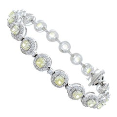5.88 Carat Total Cushion Cut Fancy Yellow Diamond Bracelet in 18 Karat Gold