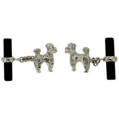 Dog 18 Karat White Gold Onyx Cufflinks