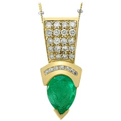 5 Carat Pear Shape Emerald and Diamond Pendant Necklace Enhancer