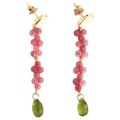 Long Earrings Rubelite Peridot Pearls 18 Karat Gold